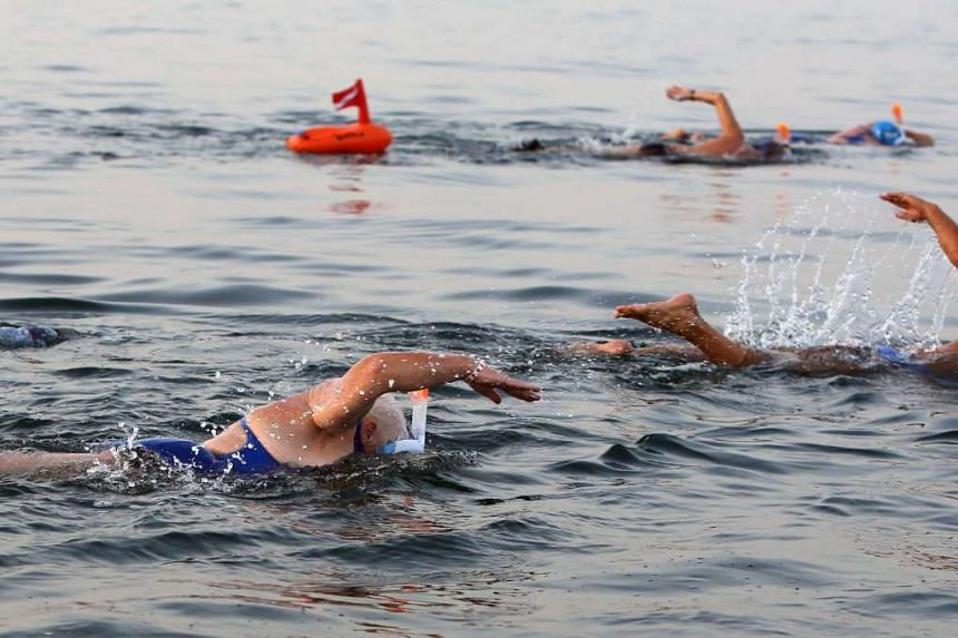 Participants take part in a 18-kilometre swim from Jordan to Israel across the Dead Sea, organised by the EcoPeace charity aimed at raising awareness for the iconic water body which has been receding by roughly a metre each year, on Nov 15, 2016.