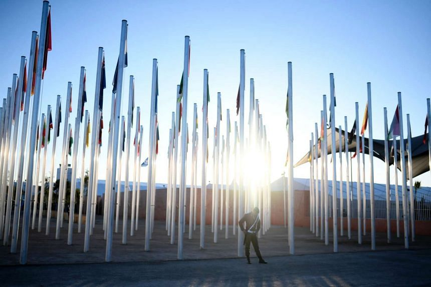 A Moroccan soldier stands guard outside the COP22 Climate Change Conference in Marrakesh on Nov 14, 2016.