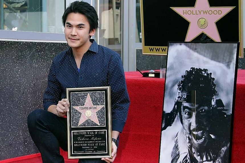 Actor Rikiya Mifune attends the posthumous ceremony for his grandfather actor Toshiro Mifune in Hollywood.