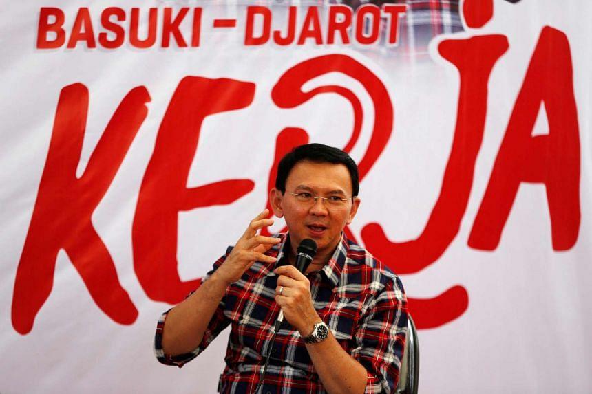 "Jakarta Governor Basuki ""Ahok"" Tjahaja Purnama speaks while campaigning for the upcoming election for governor in Jakarta, on Nov 15, 2016."