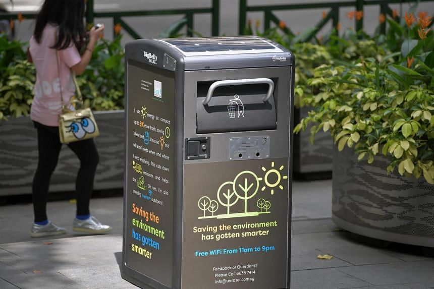 The solar-powered smart compacting BigBelly bin is on trial along a 500m-stretch at Orchard Road.