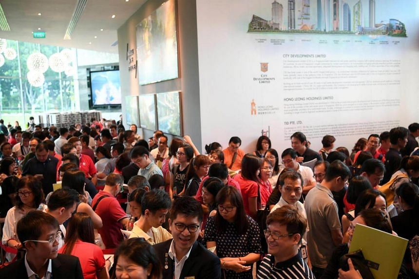 Potential buyers at the launch of Forest Woods Condominium showflat at Lorong Lew Lian on Oct 8, 2016.
