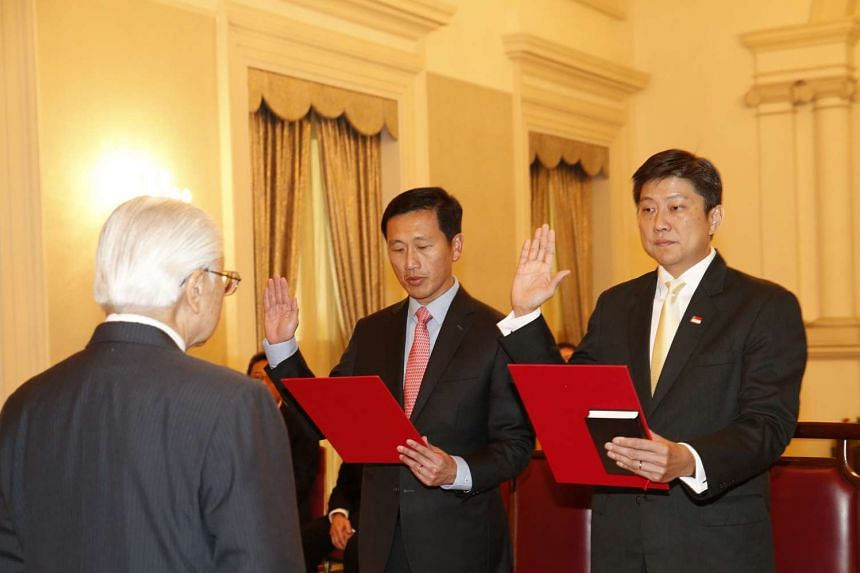 Acting Ministers for Education Ng Chee Meng (right) and Ong Ye Kung were sworn in as full ministers on Nov 16, 2016. President Tony Tan Keng Yam officiated at the ceremony held at the Istana.