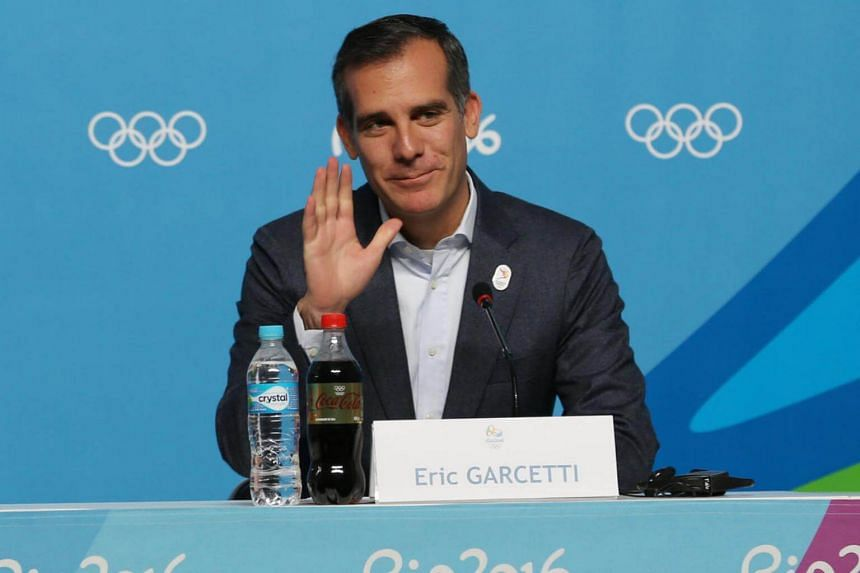 Los Angeles mayor Eric Garcetti at a LA2024 bid press conference during the Rio Olympics.