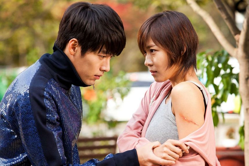 A television still from South Korean soap opera Secret Garden featuring actors Hyun Bin (left) and Ha Ji Won. South Korean President Park Geun Hye reportedly used the name of the soap opera's heroine Gil Ra Im, played by Ha Ji Won, as a pseudonym at