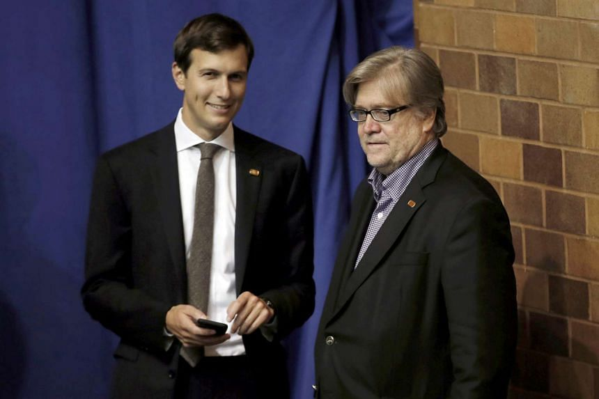 Mr Jared Kushner (left) and Mr Stephen Bannon at a presidential campaign rally by Republican Donald Trump in Canton, Ohio, on Sept 14, 2016.