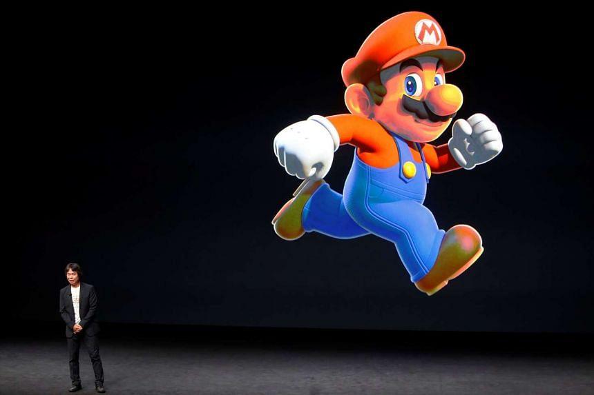 Nintendo creative fellow Shigeru Miyamoto presenting the Super Mario character at an Apple media event in San Francisco in September, 2016.