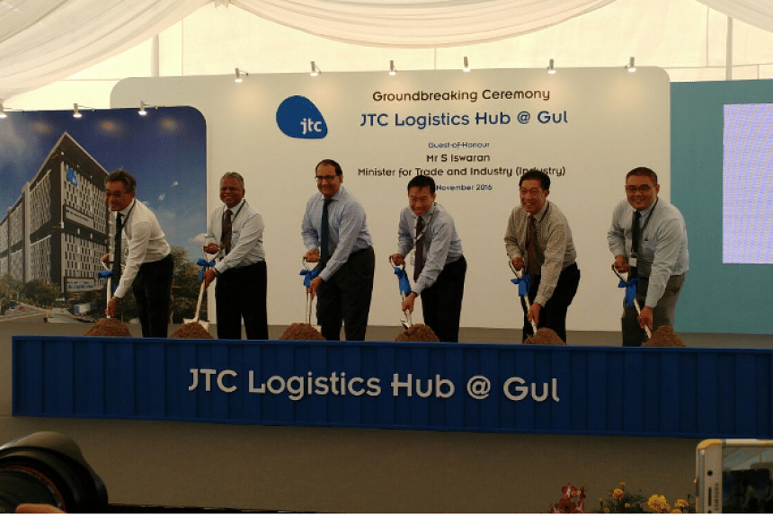 Minister for Trade and Industry (Industry) S Iswaran (third from left) at the ground-breaking ceremony of JTC Logistics Hub@Gul.