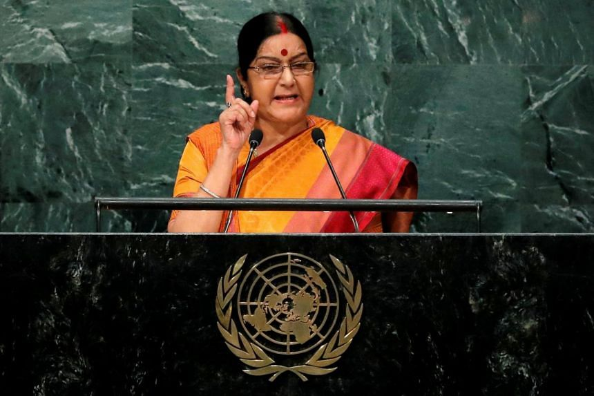 India's Foreign Minister Sushma Swaraj addresses the United Nations General Assembly in the Manhattan borough of New York on Sept 26, 2016.