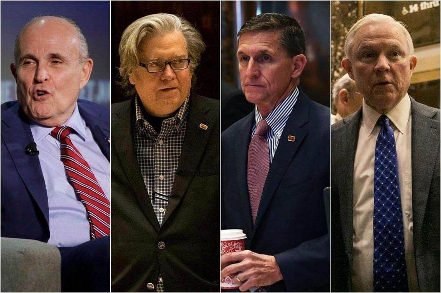 (From left)  Rudy Giuliani, Steve Bannon, Michael Flynn and  Jeff Sessions have all been shortlisted by Trump for various positions in his cabinet.