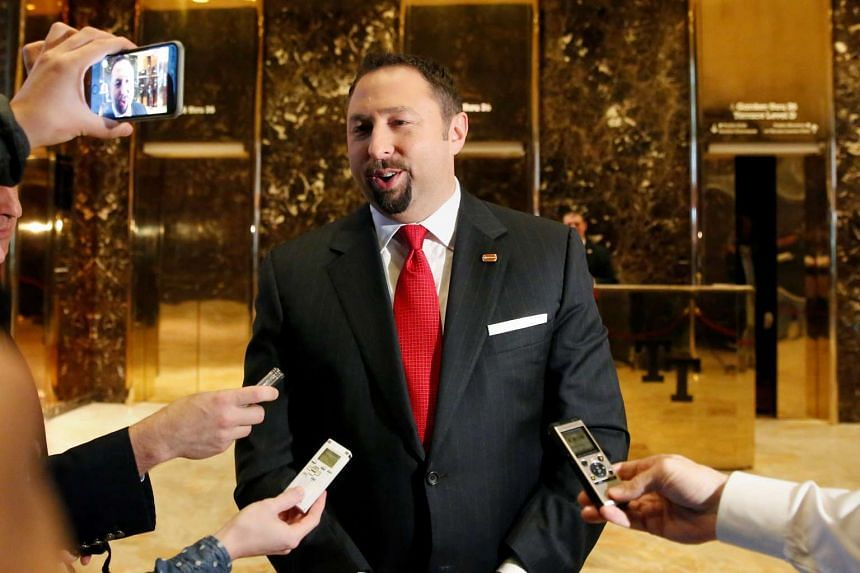 Communications adviser Jason Miller speaks to the media in the lobby of Republican President-elect Donald Trump at Trump Tower in New York on Nov 16, 2016.