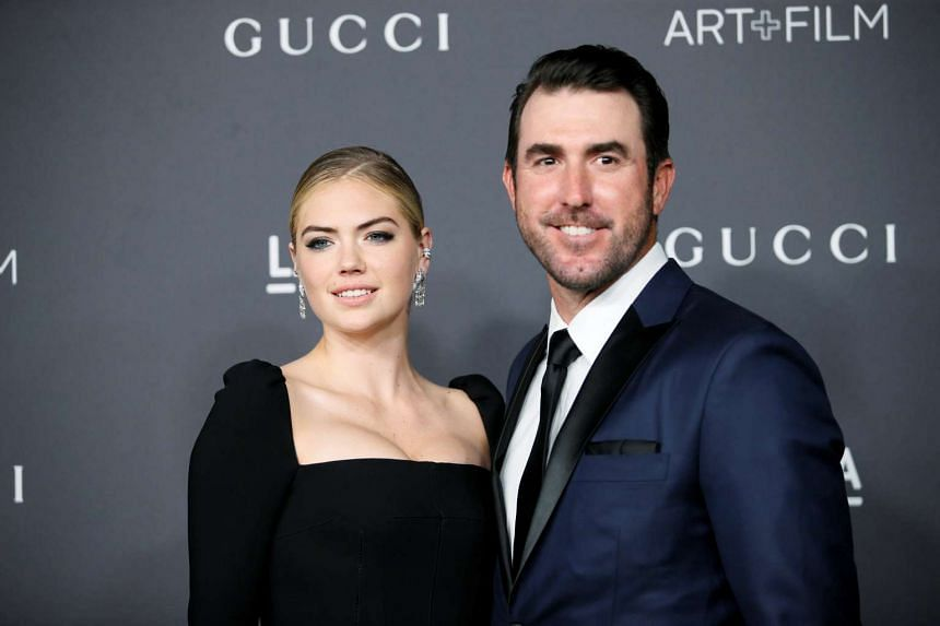 Model Kate Upton (left) and her fiance Major League Baseball pitcher Justin Verlander at the Los Angeles County Museum of Art Art+Film Gala on Oct 29, 2016.