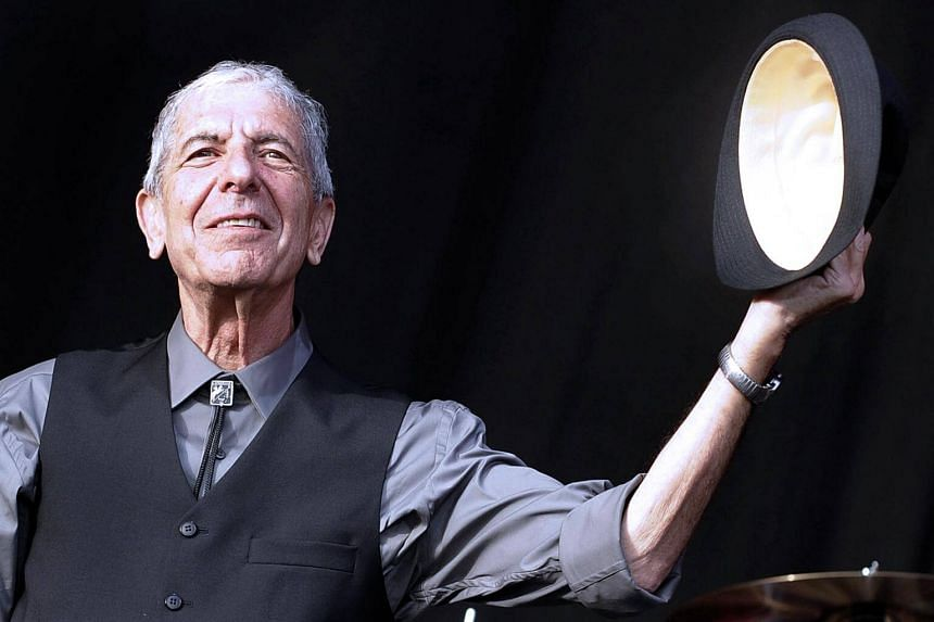 Canadian singer Leonard Cohen greeting the public during the international Festival of Beincassim.