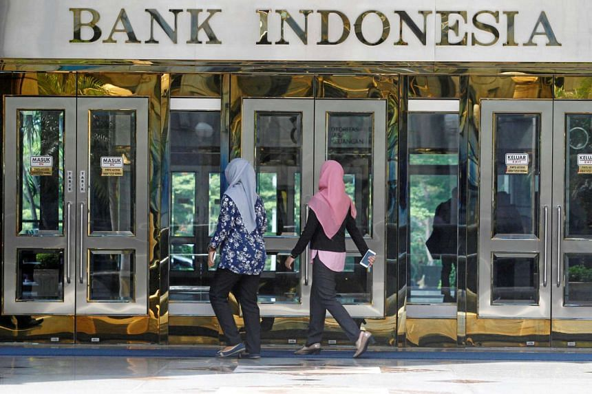 The entrance at Indonesia's central bank Bank Indonesia in Jakarta.