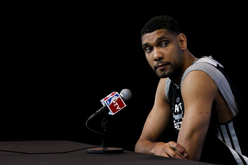 San Antonio Spurs forward Tim Duncan attends a media session for their NBA Finals basketball series against Miami Heat.