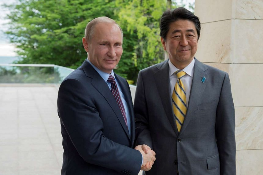 Russian President Vladimir Putin (left) shakes hands with Japanese Prime Minister Shinzo Abe during a meeting at the Bocharov Ruchei state residence in Sochi on May 6, 2016.