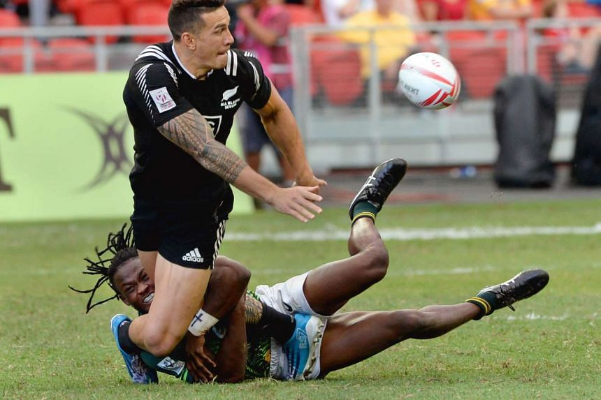 New Zealand's Sonny Bill Williams in action against South Africa at the Singapore Rugby Sevens tournament.