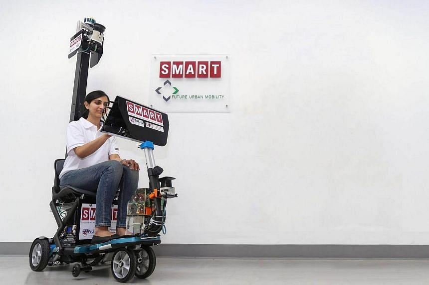 The self-driving mobility scooter weighs about 50kg and has a top speed of 6kmh.