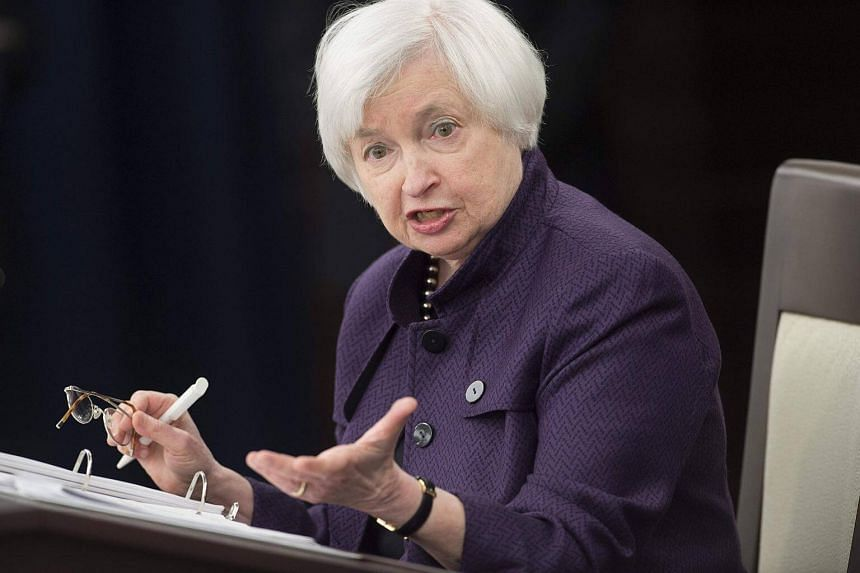 Federal Reserve chair Janet Yellen speaks during a press conference.
