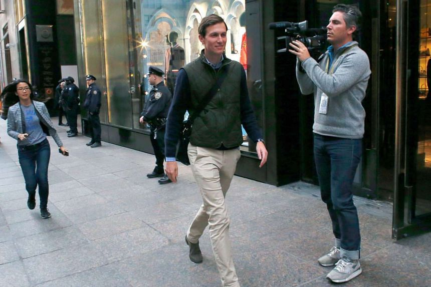 Jared Kushner, son-in-law of US President-elect Donald Trump, leaves Trump Tower in New York on Nov 14, 2016.