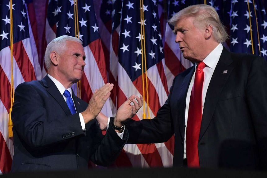 President-elect Donald Trump and Vice President-elect Mike Pence in a Nov 9, 2016, file photo.