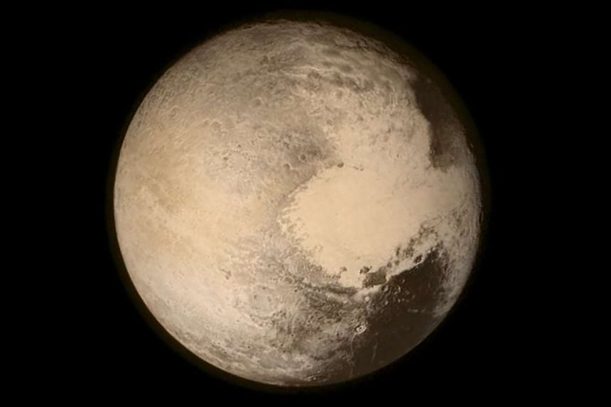 An image of Pluto taken in July 2015, as Nasa's New Horizons spacecraft passed by, 768,000km above the surface.