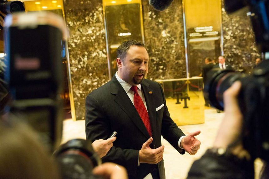 Mr Jason Miller,  Mr Donald Trump's campaign spokesman, takes press questions at Trump Tower on Nov 16, 2016 in New York City.