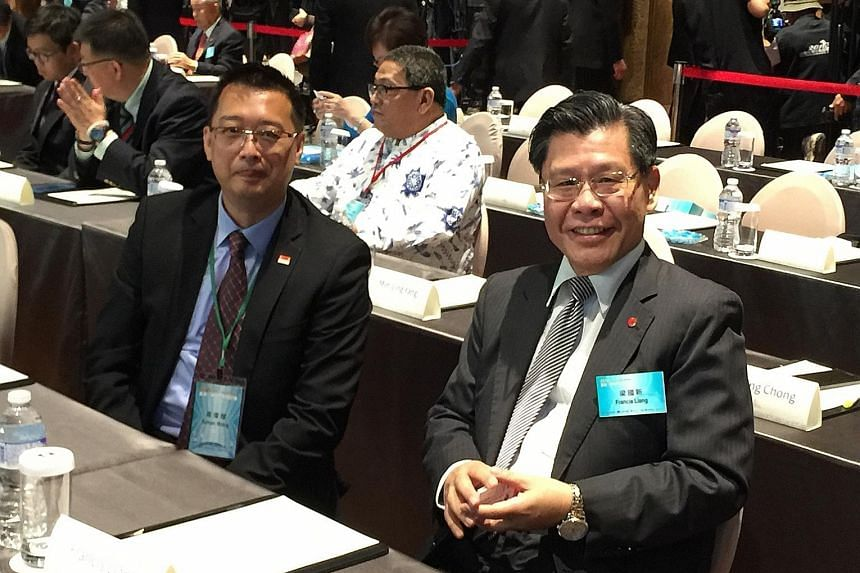 """Singapore trade representative Simon Wong (left) seated next to Taiwan's new Singapore envoy Francis Liang at the first-ever Taiwan-Asean Dialogue in Taipei on Tuesday. The forum took place as Taiwan seeks to be Asean's """"most reliable partner"""", while"""