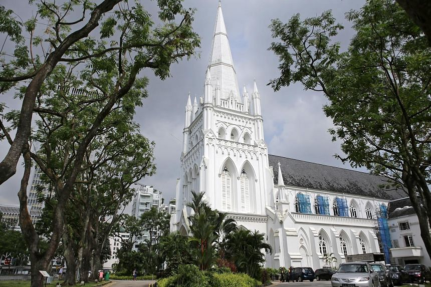 Above: An exterior shot of the cathedral, which sits in the heart of Singapore's civic district..