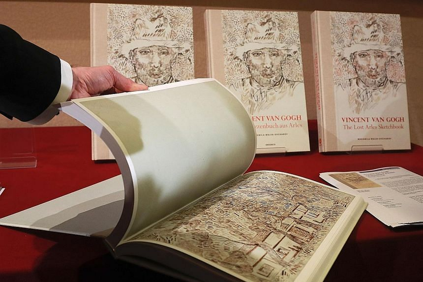 A book of drawings by Dutch Post-Impressionist painter Vincent van Gogh at the architecture academy in Paris. Two scholars believe an old sketchbook containing 65 drawings is an authentic work by van Gogh, and one of them has released a book about th