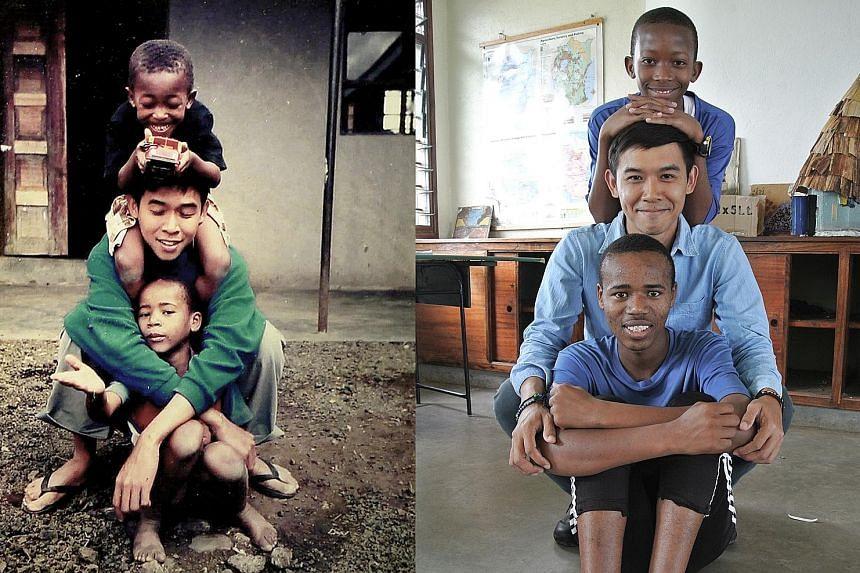 Mak Chun Kit with orphans Huruma (top), 16, and Joseph, 18; and Mak (below) with Huruma (top), four, and Joseph, six, in 2004.