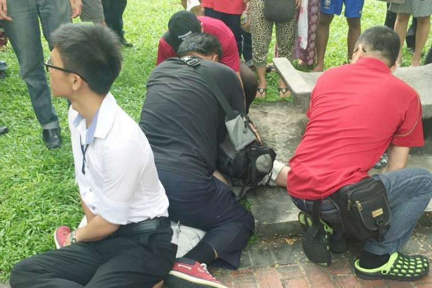 Man was nabbed and held down after a woman said he was taking an upskirt video of her at Toa Payoh Central on Nov 16, 2016.