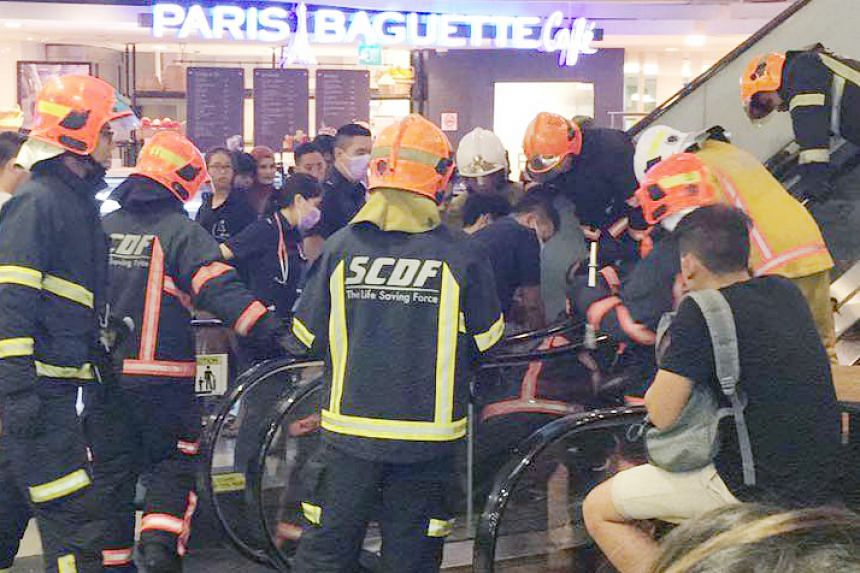 The Singapore Civil Defence Force was activated to rescue a man whose foot was trapped in an escalator on Nov 16, 2016.