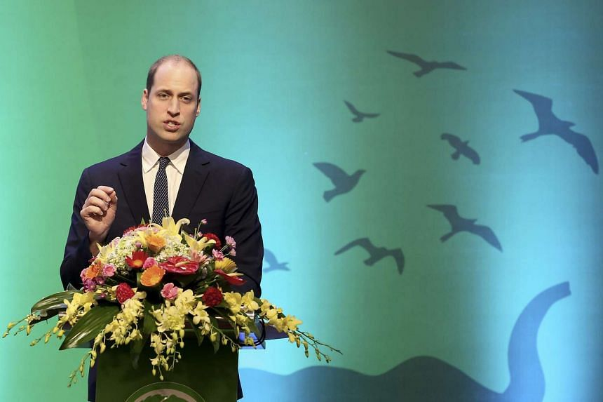 Britain's Prince William, Duke of Cambridge delivers a speech during the Hanoi Conference on Illegal Wildlife Trade on Nov 17, 2016.