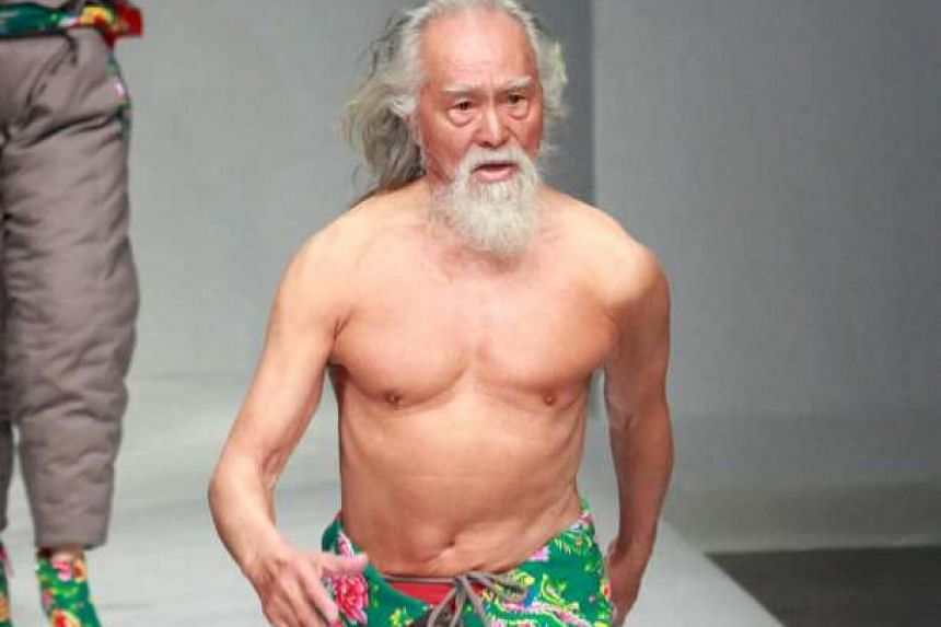Chinese model Wang Deshun,80, at China Fashion Week in Beijing last year.