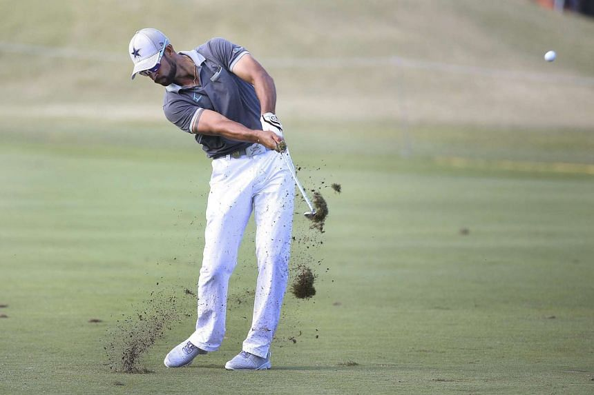 James Nitties of Australia plays his second shot at the ninth hole during round two of the Australian Open Golf Championship at the Royal Sydney Golf Club in Sydney on Nov 18, 2016.