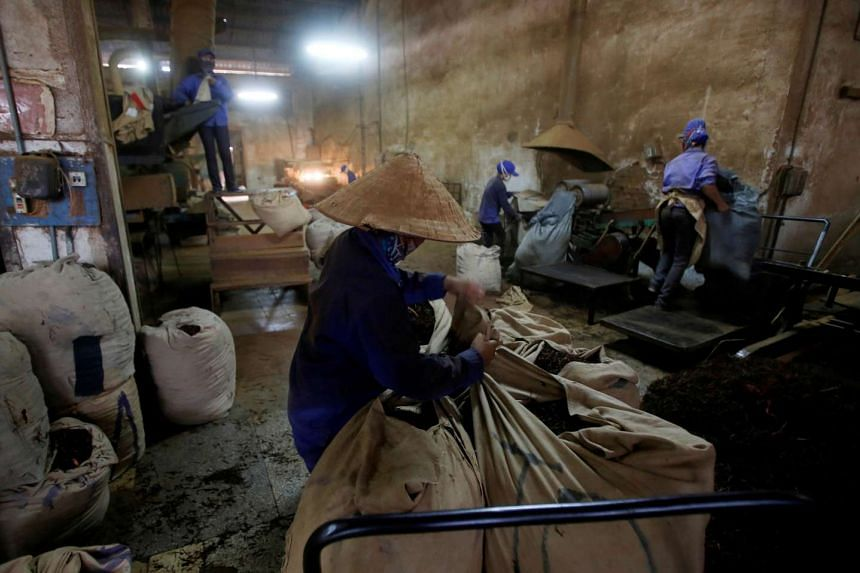 Women working at a tea factory producing black tea for export in Yen Bai province, Vietnam, on Aug 4, 2016.