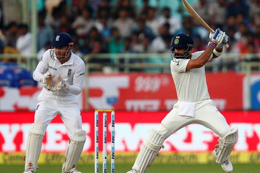 India's Virat Kohli plays a shot at Second Test cricket match.