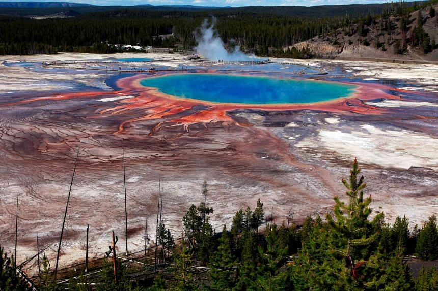 The Grand Prismatic Spring, the largest in the United States and third largest in the world, is seen in Yellowstone National Park, Wyoming, June 22, 2011.