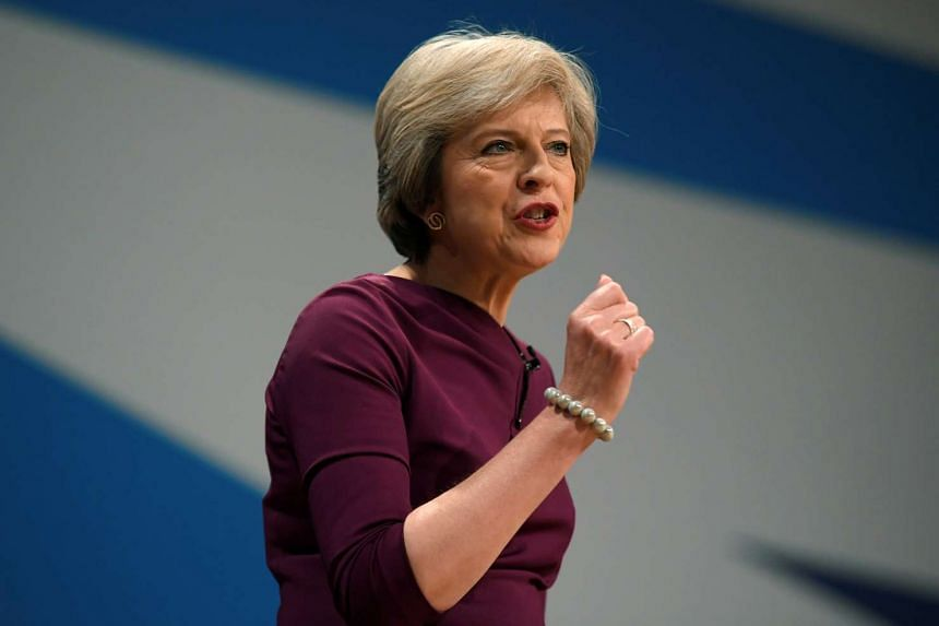 Britain's Prime Minister Theresa May gives her speech on the final day of the annual Conservative Party Conference in Birmingham on Oct 5, 2016.