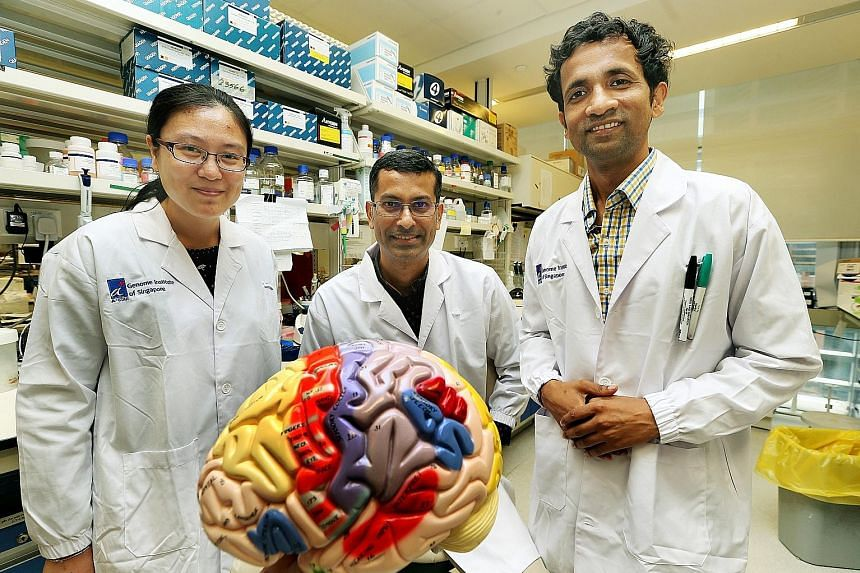 Dr Prabhakar (centre) with members of his team, research associate Sun Wenjie (left) and research scientist Vibhor Kumar. In the team, almost everyone knows someone with autism.