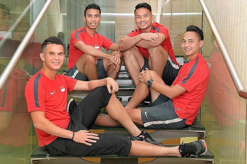 Key Lions players (from left) Baihakki Khaizan, Juma'at Jantan, Hassan Sunny and Shahril Ishak have dedicated their professional careers to helping Singapore win the AFF Cup after witnessing the Lions' embarrassing 4-0 home defeat by Malaysia in the