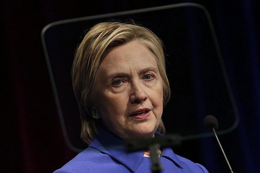 """Mrs Clinton speaking at the Children's Defence Fund gala event on Wednesday. She was introduced by fundfounder Marian Wright Edelman as """"the people's president"""" and the first woman to win the popular vote."""