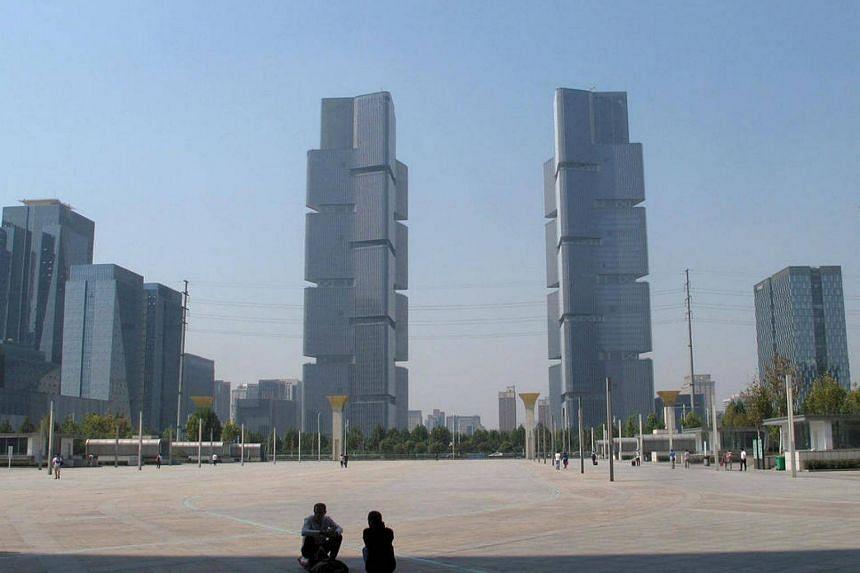 New properties are seen near a square in Zhengzhou, China.