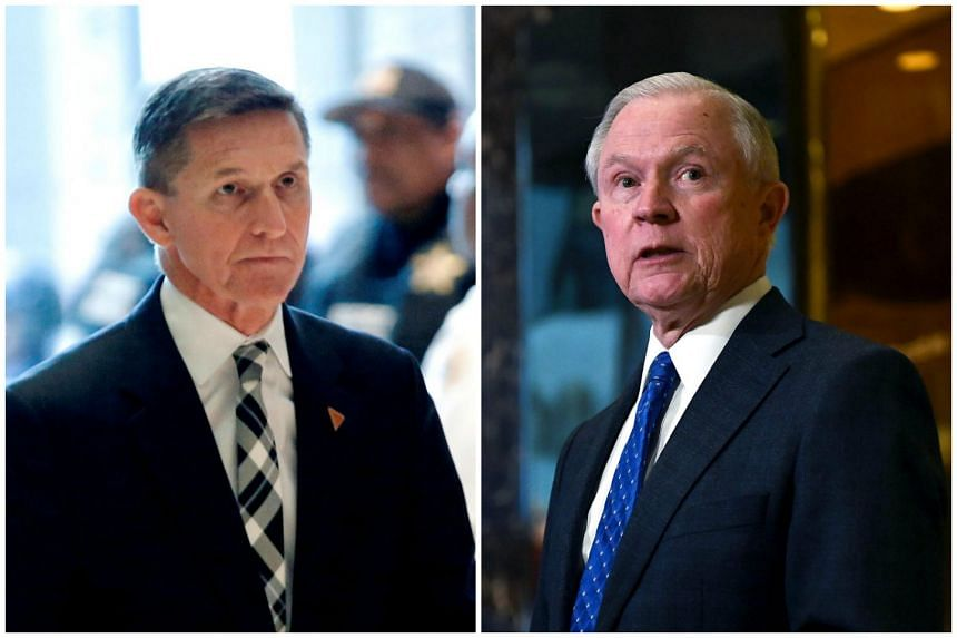 Retired US Army Lieutenant General Mike Flynn (left) and US senator Jeff Sessions.