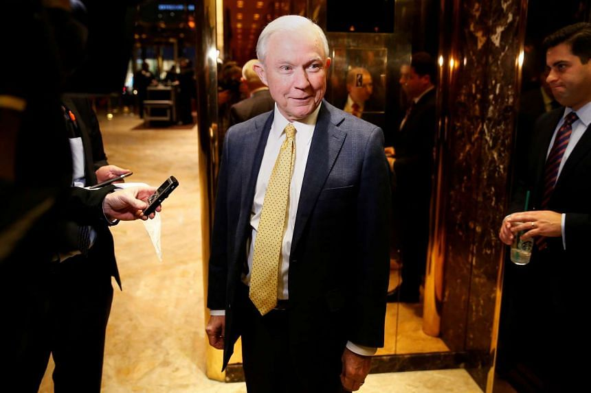 Jeff Sessions arrives in the lobby of Trump Tower in New York, Nov 14, 2016.
