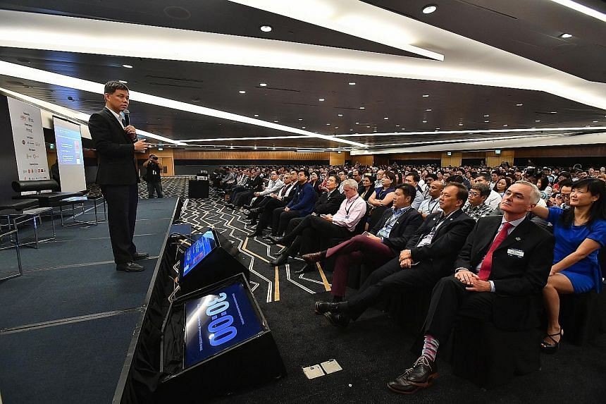 Labour chief Chan Chun Sing, who is also Minister in the Prime Minister's Office, at NTUC's U Future Leaders Summit held at the Suntec Singapore Convention and Exhibition Centre yesterday.