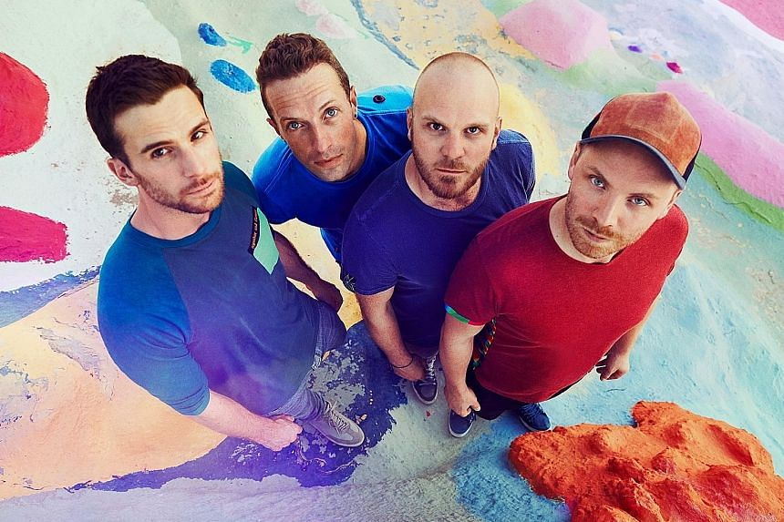 The award- winning Coldplay comprise (from far left) bassist Guy Berryman, singer Chris Martin, drummer Will Champion and guitarist Jonny Buckland.