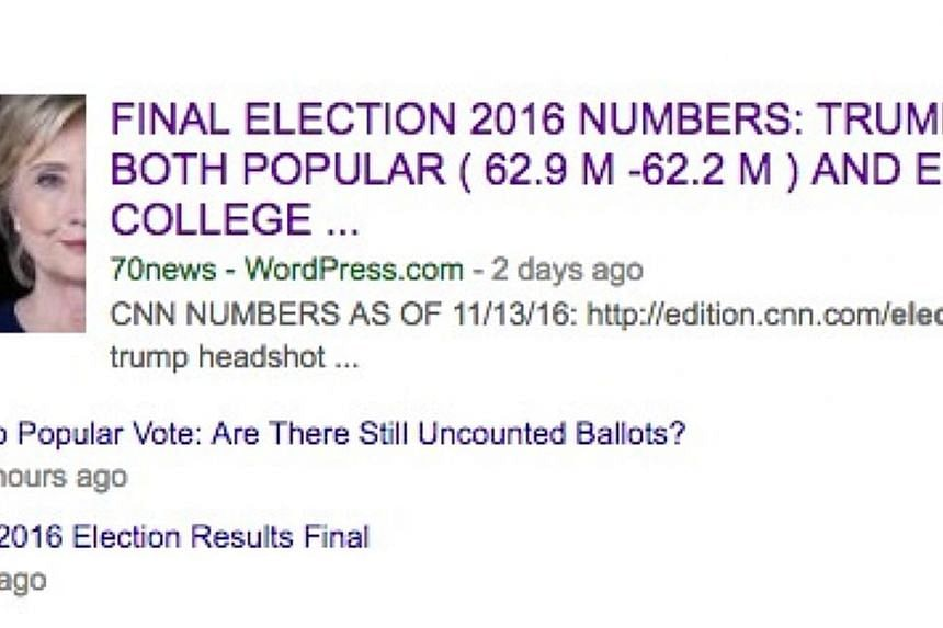 """Earlier this week, Google's top news link for """"final election results"""" of the US election went to a fake news site with false numbers."""