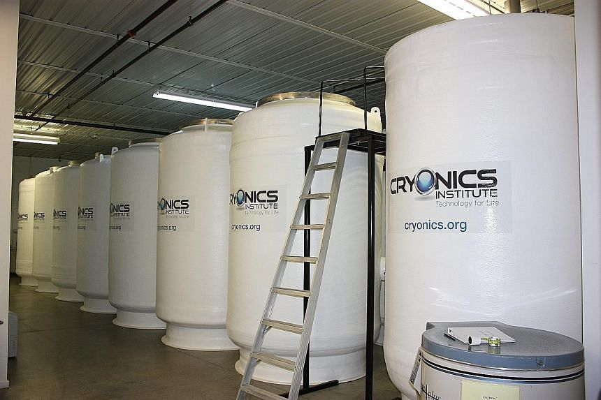 Cryostats or insulated tanks for long-term patient storage in liquid nitrogen at the Cyronics Institute in Michigan, the US. A British girl who died last month has become the 144th person to be frozen there.